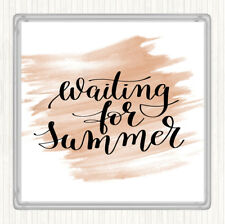 Watercolour Waiting For Summer Quote Drinks Mat Coaster