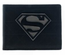 Superman Black Metal Badge Bi-Fold Wallet - NEW!