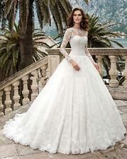 Ball Gown Long Sleeve Lace Wedding Bridal Dresses Handmade Custom Size 2-22++