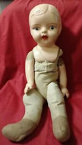 """ANTIQUE SHOULDER HEAD PAPER MACHE BISQUE DOLL HAND PAINTED 24"""" Looped Straw Body"""