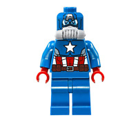 LEGO Minifig Dark Blue Captain America Head Male Mask with Eyeholes