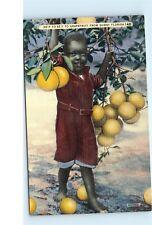 1940s He'p Yo'sef to Grapefruit Black Boy Americana Florida Vintage Postcard C37