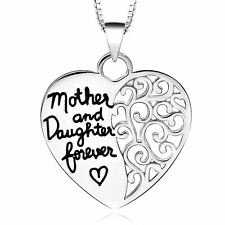 925 Silver Plt Mother and Daughter Forever Engraved Love Heart Necklace Mum a