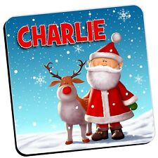 Personalised Christmas Drinks Table Coaster Girls Boys ~ ANY NAME N18 Gift idea