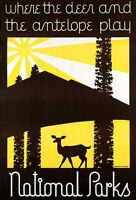 "Vintage Illustrated Travel Poster CANVAS PRINT US National parks Deer 8""X 12"""