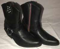 DINGO Women's Black Harness Biker Short Zip Up Stud Boots DI9900 NIB Size 6.5