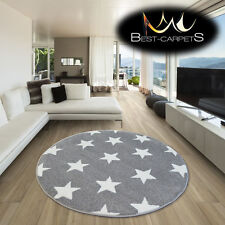 AMAZING THICK MODERN RUGS SKETCH Stars GREY WHITE FA68 CIRCLE BEST-CARPETS