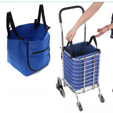 Supermarket Trolley Shopping Grocery Cart Clips Reusable Foldable Hand Bag Blue