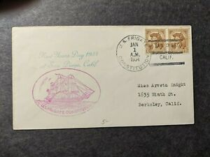 USS CONSTITUTION Naval Cover 1934 NEW YEARS DAY Cachet