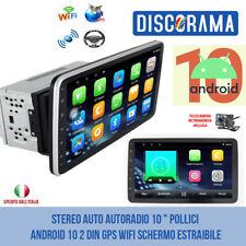 """STEREO AUTO AUTORADIO 10 """" POLLICI ANDROID 10 2 DIN GPS WIFI SCHERMO ESTRAIBILE"""