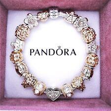 Authentic Pandora Bracelet with ANGEL LIVE LAUGH LOVE ROSE GOLD European Charms