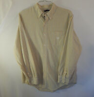 Ralph Lauren Chaps Mens Button Up Casual Dress Shirt Yellow Striped Size Large L