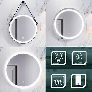 Round LED Bathroom Mirror Illuminated Anti-fog Demister Smart Touch Wall Mounted