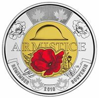 2018 Canada $2 Armistice Poppy BU Coloured Toonie From Special Wrap Roll Coin