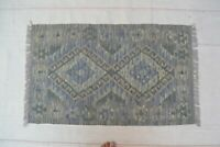 3'3x2' Handmade Afghan Tribal Kilim Carpet Rug Small Wool Kelim Area Rug #8843