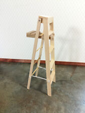 Dollhouse Miniature Unfinished Wood Step Ladder DIY 1:12 Scale