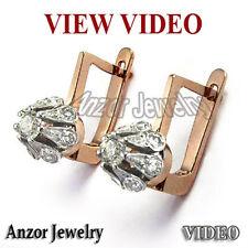 .90 Cwt Diamond Malinka Earrings 14k Rose Gold Russian Style E901 FREE SHIPPING