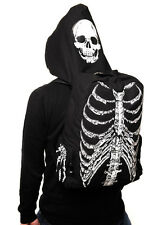 BANNED Gothic Punk Skeleton Skull Ribcage Bones Hooded Backpack Rucksack Bag
