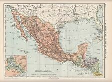 1923 Map ~ Mexico & Central America ~ Guatemala Honduras Inset Panama Canal