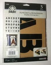 "Plaid Folkart Paper Stencils ~ Alphabet & Monogram ~ 5"" Script ~ NEW"
