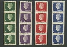 Canada 1962 QEII Cameo Coil Strips of 4 set #406-409 XF MNH