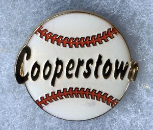 """COOPERSTOWN NEW YORK HOME OF BASEBALL BALL LOGO 1.25"""" SOUVENIR PIN BUTTON"""