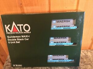 Kato N Scale #106-6199 Gunderson Maxi-1 Maersk Double Stack New
