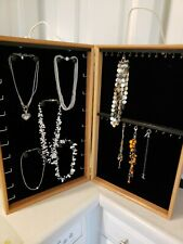 Hand Made Wood Jewelry Display Case Holds 50 Necklaces Bracelets Slides Rings