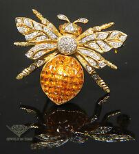 Bumblebee Citrine Diamond 18k Yellow Gold Brooch/Pin