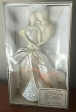 "Wedding Cake Topper ""I Give You My Heart""  Enesco Box, Bride & Groom Figurine 8"""