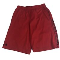 Boys L Under Armour Heat Gear Athletic Shorts Running Red Stretch Youth YLG