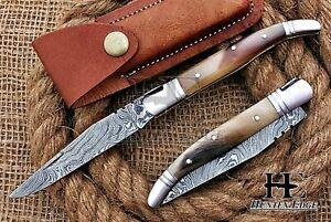HUNTEX Custom Handmade Damascus Steel 100 mm Hunting Folding Pocket Lagoli Knife