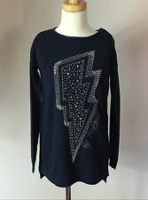 Microbe Miss Grant Navy cashmere blend jeweled studded fall pullover sweater top