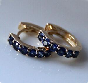E181 Genuine 9K Solid Gold NATURAL Sapphire Huggie Earrings September birthstone