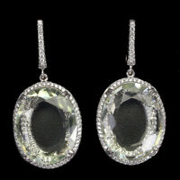 Oval Green Amethyst 20x16mm Cz 14K White Gold Plate 925 Sterling Silver Earrings