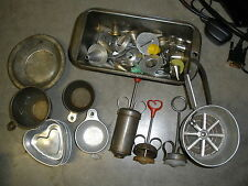 lot of vintage metal aluminum kitchen items sifter, mold, cake decorating tips,