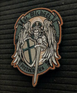 ST. MICHAEL PROTECT US Tactical Army GREEN ISAF PATCH Wings Sword VEST