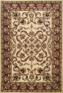 Jaipur Floral Handmade Oriental Beige Red Wool Area Rug 10' x 14'