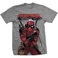 Deadpool T Shirt Mens Official Marvel Grey M,L,XL,XXL Free P+P
