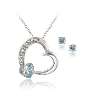 Sterling Silver 2ct Blue Topaz & Diamond Heart Necklace & Earrings Set