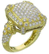 JUDITH RIPKA 18K YELLOW GOLD 2.70 Ct  DIAMONDS -LUXURY DIAMONDS PAVE RING