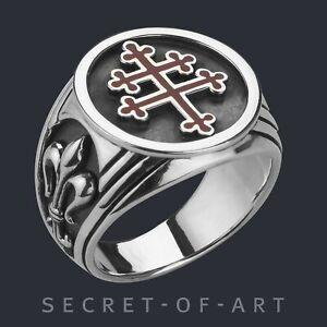 Cross of Lorraine Ring Lilie Lothringer Kreuz Lothringen Magnum Silber 925 Ring