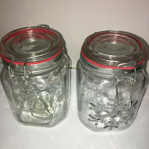 """Lot of 2 Anchor Hocking Canning Storage Glass Canister Jars Christmas 6"""" x 4"""""""