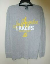 Men's Los Angeles La Lakers Basketball Shirt Gray Long Sleeve Thermal ~ Medium M