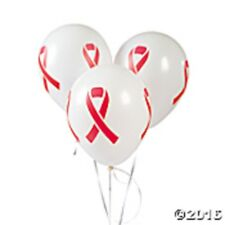 Red Ribbon Awareness Latex Balloons 24 White Balloons with Red Ribbon