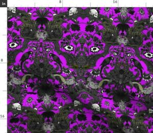 Goth Purple Skull Damask Halloween Spooky Haunted Spoonflower Fabric by the Yard