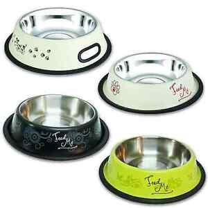 Edelstahl Futternapf Wassernapf mit Gummiring Hunde Katze Napf Freßnapf Muster