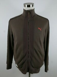 PUMA Mens Long Sleeve Full Zip Solid Brown Track Jacket Sweater Small