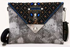 NWT MARY FRANCES PYTHON VAPOR ENVELOPE CLUTCH SHOULDER BAG HOLDS PHONE # 06-158