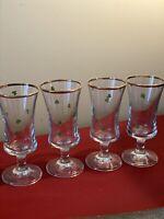 Vintage Cordial Liqueur Shot Glasses Irish Shamrock Clover SET OF 4, Gold Rims